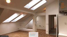 Lichtdurchflutete Dachgeschoßwohnung (70 qm) in 1100 Wien Stairs, Loft, Bed, Furniture, Home Decor, Kitchen Living Rooms, Washing Machines, Elevator, Open Plan Kitchen