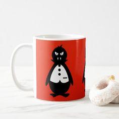 Vampire Penguin VZS2 Fiery Red Coffee Mug - halloween decor diy cyo personalize unique party