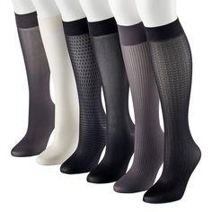 Women's Apt. 9® 6-pk. Assorted Herringbone Knit Trouser Socks, Size: 9-11, White