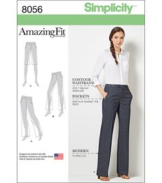 Simplicity 8056 Amazing Fit Miss and Plus Size Flared Pants or Shorts sewing pattern Sewing Pants, Sewing Clothes, Trouser Pants, Wide Leg Pants, Wide Legs, Culotte Pants, Clothing Patterns, Dress Patterns, Paper Patterns