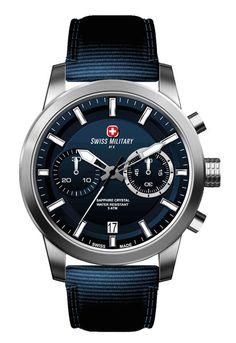 Swiss Military by R 09501 3 BU Sniper Men's Watch Chronograph Blue Nylon Strap
