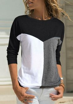 Color Block Splicing O-Neck T-Shirt Tee without Necklace - Black buying fashion dresses & rapid delivery. Start your amazing deals with big discounts! Home T Shirts, Tee Shirts, Tees, Fashion Pants, Fashion Dresses, Trendy Outfits, Cute Outfits, Arrow T Shirt, Style Feminin