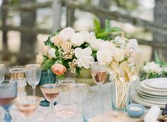 Big Love Wedding Design, Intimate Vow Renewal, family style tablescape with gold cutlery