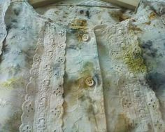 Beautiful, delicate, ladies cotton blouse - Hand-colored with leaves and plants. eco dyeing, eco printing, hand made