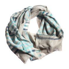 Silk Wool Scarf Navy Blue