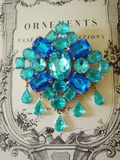 Aquamarine New Age Jewelry | Aqua Festoon Lilien Czech Rhinestone Brooch by eakerhouse on Etsy