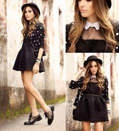 Flávia Desgranges van der Linden - Larmoni Dress, CravoCanela Shoes, Oasap Hat - Little Black Dress