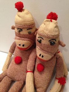 Pair of Vintage Sock Monkeys  20 + 13