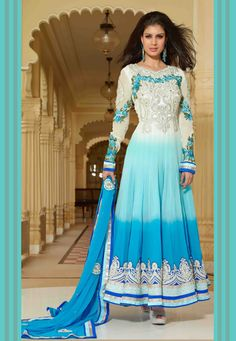 Shaded Off White and Blue Faux Georgette Anarkali Churidar Kameez
