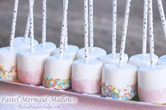 Pastel Mermaid Mallows -Mermaid Birthday Party Food Idea-Mermaid Snacks Treats