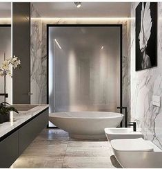 On a budget bathroom design ideas. Every bathroom remodel starts with a design suggestion. From complete master bathroom restorations, smaller sized visitor bath remodels, and also bathroom remodels of all sizes. Chic Bathrooms, Dream Bathrooms, Beautiful Bathrooms, Luxury Bathrooms, Master Bathrooms, Small Bathrooms, Bad Inspiration, Bathroom Inspiration, Modern Bathroom Design