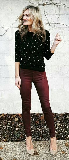 #fall #outfits  woman's maroon jeans