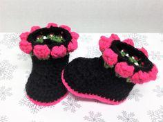 Newborn Boots Crochet Baby Flower Boots by JayKaySCrochet on Etsy