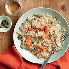 Champagne Risotto with Peppers and Asparagus | CookingLight.com #myplate #vegetables