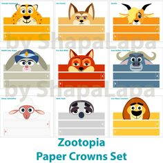 Zootopia Animals Paper Crowns Set. 10 DIY Crowns Template. Zootopia Photo Booth Props Template kit. DIGITAL
