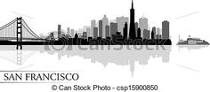 Vector - San Francisco city skyline silhouette background - stock illustration, royalty free illustrations, stock clip art icon, stock clipart icons, logo, line art, EPS picture, pictures, graphic, graphics, drawing, drawings, vector image, artwork, EPS vector art