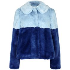 Alice + Olivia Damaris blue faux fur jacket (€550) ❤ liked on Polyvore featuring outerwear, jackets, fur, coats, fake fur jacket, faux fur jacket, colorblock jackets, color block jacket and blue jackets