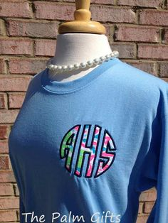 LONG SLEEVE  Monogrammed Shirt - Applique with Lilly Pulitzer Fabric- Style 4