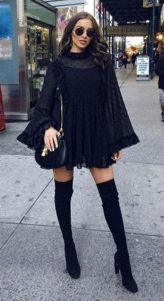 Olivia Culpo in See by Chloe paired with Nicholas Kirkwood boots  out in NYC. #bestdressed