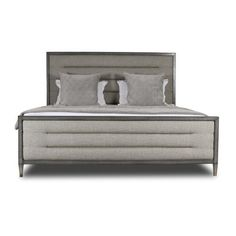 Everly Quinn Korhonen Horizontal Channel Tufting Upholstered Panel Bed Size: California King, Color: Gray