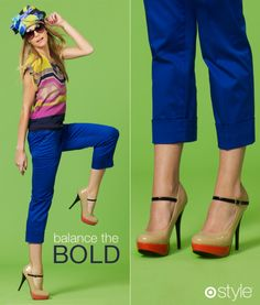 i have these shoes!  they're so hot and actually comfy and I <3 them with my bright cobalt jeans - exact same color!