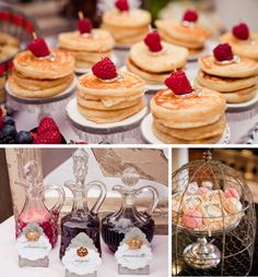 Mini pancakes, anyone? Love the cloche over the macaroons, too. Styling by Modern Moments Design