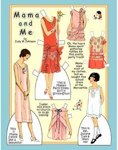 MAMA and ME ♥ Dolls and clothes are redesigned/modified from fashion illustrations in magazines of the mid 1920s. Post Card-  art by Judy M Johnson