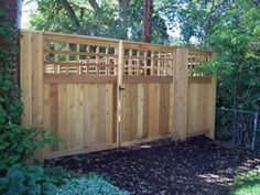 Lattice Top add a unique design to any fence. It allows for full privacy fences while still keeping your yard open. Contact us for more information. Lattice Top, Lattice Fence, Backyard Projects, Home Projects, Trex Fencing, Double Gate, Privacy Fences, Cedar Fence, Wood Vinyl