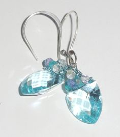 Aquamarine Earrings Wire Wrapped with Tanzanite by fatdogbeads, $75.00