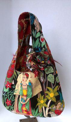 Frida Kahlo Large Reversible Hobo Style Bag Red by OliviabyDesign, $32.95 #frida Kahlo #boho hobo frida bag
