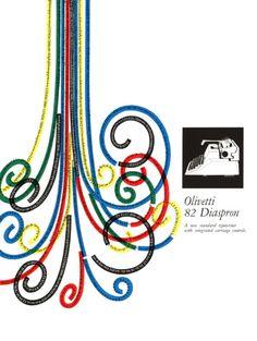 Locandina pubblicitaria disegnata nel 1955 da Giovanni Pintori, graphic designer, per la macchina per scrivere Olivetti 82 Diaspron.