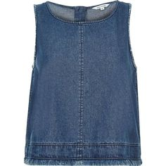 River Island Blue denim frayed hem top (660.625 IDR) ❤ liked on Polyvore featuring tops, blue, cami / sleeveless tops, women, blue tank, cami top, blue cami, sleeveless tops and blue camisole