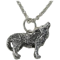 Pre-owned Sterling silver Carol Felley Howling Wolf Necklace 1990s ($750) ❤ liked on Polyvore featuring jewelry, necklaces, accessories, chain necklaces, pre owned jewelry, long chain necklace, long necklaces, long sterling silver necklace and preowned jewelry
