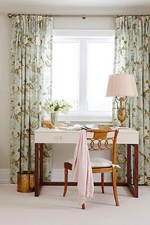 Love this office, I know just the fabric I'd use for curtains - Waverly Olana in Bayleaf