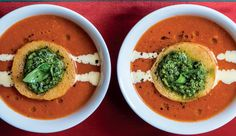 Roasted tomato soup with parmesan cream and pesto croûtes - Pops with colour. What a taste! #Soup #WinterWarmers #Recipe