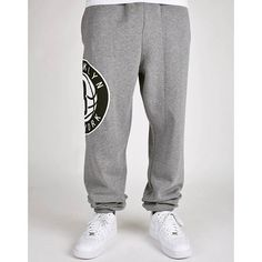 mitchell and ness SIDE LOGO NETS  SWEATPANT grey