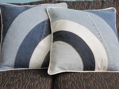 Upcycled 18 inch Denim Semicircles Patchwork Pillow Cover Pair. $85.00, via Etsy.