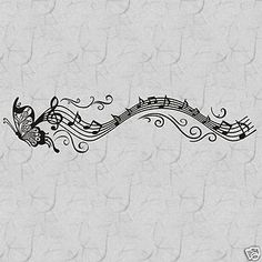 Musical Butterfly with Notes  Vinyl Wall Decal,Home Decor Vinyl Words Quotes
