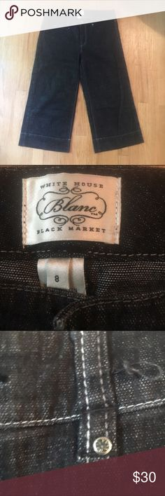WHBM size 8 capris with a little bling White House black market size 8 capris. Great previously worn condition. These capris are a great weight for summer. Not too thick not too thin. Have subtle bling on rivets. White House Black Market Pants Capris