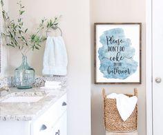 Don't Coke In The Bathroom, Funny Bathroom Printable Wall Art by LilaPrints. Bathroom Prints, Funny Quotes, Dorm Room, Bathroom Wall Decor, Funny Gifts #scriptureprints #art #kitchenwalldecorideas #artwork