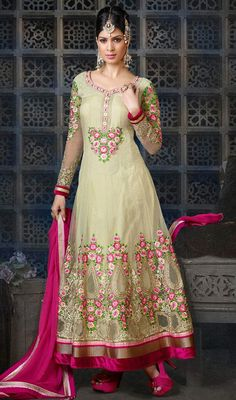 Cream Shade Embroidered Net Long Anarkali Churidar Suit Price: Usa Dollar $148, British UK Pound £87, Euro109, Canada CA$161 , Indian Rs7992.