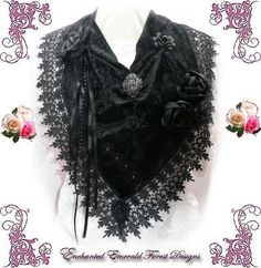 Black Velvet & Rose Gypsy Fairy Scarf Cloth Necklace ~ Bib Necklace ~ Collar | Enchanted Emerald Forest Designs