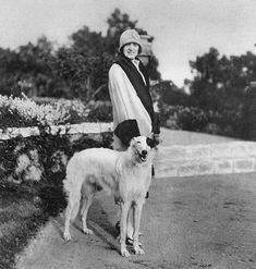 Lady Davis (born Eleanor Curran) and friend, 1925 Vintage Ads, Vintage Black, Dog Yawning, Wolfhound Dog, Russian Wolfhound, 15 Dogs, Flying Dog, White Dogs