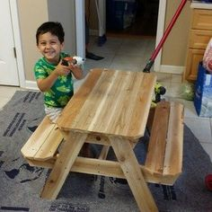 Kids' Picnic Table: 8 Steps (with Pictures) Kids Picnic Table Plans, Diy Picnic Table, Outdoor Picnic Tables, Kid Table, Kids Outdoor Furniture, Diy Garden Furniture, Wood Pallet Furniture, Furniture Plans, Craftsman Style Porch