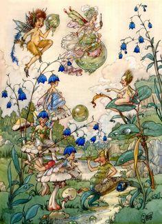 Fairy Bubbles, a watercolor illustration by Harold Gaze