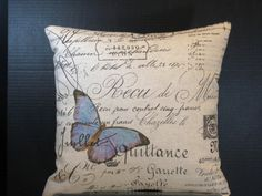 Decorative Pillow Blue Butterfly in Paris on French by WordGarden