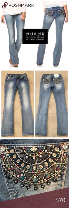 """Miss Me👖Carnival Lover Mid-Rise Boot Cut Jeans Super fun, beautiful colorful pocket detail.  MP7124B-MED292, Mid-rise bootcut. Midrise boot cut jean with fading, whiskering, logo hardware, and decorative embellished Back Rise pockets with sequins .73% Cotton; 25% Polyester; 2% Elastane Machine Wash Separately In Cold Water, Front Rise 8"""""""" ; Back Rise 13 ¼"""", Inseam 34"""". Waist measures 15"""". Soft and great stretch.  Intentionally distressed and sand/faded.  Cuffs are worn, see photo.  Can…"""