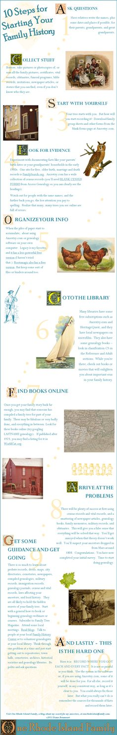 10 Steps for Starting Your Family History Infographic by Diane Boumenot at One Rhode Island Family