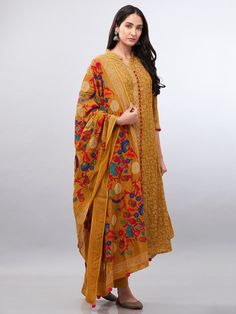 Mustard Yellow Hand Block Printed Muslin Cotton Suit with Embroidered Dupatta - Set of 3 Silk Kurti Designs, Kurta Designs Women, Simple Pakistani Dresses, Simple Dresses, Classic Dresses, Casual Dresses, Kurta Patterns, Dress Patterns, Ladies Suit Design