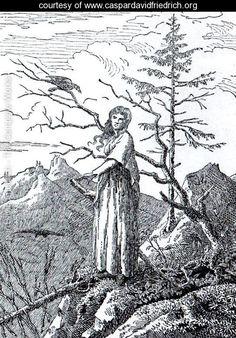 """The Woman with the Raven at the Abyss"" - Caspar David Friedrich - www.caspardavidfriedrich.org"